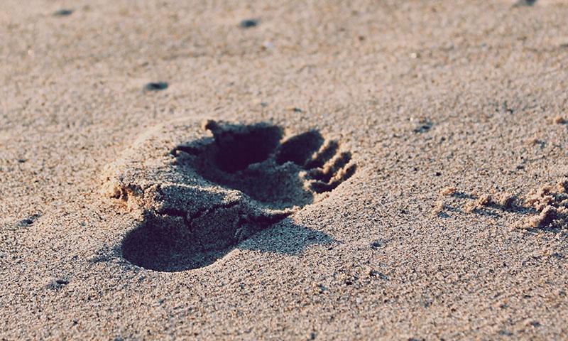 Et fotavtrykk i sanden